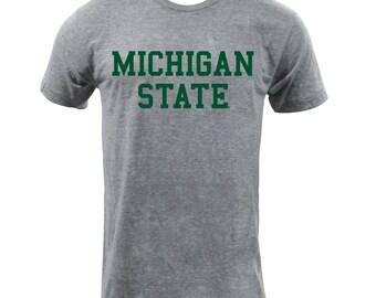 UGP - Michigan State Block Triblend - Unisex T Shirt - Athletic Grey