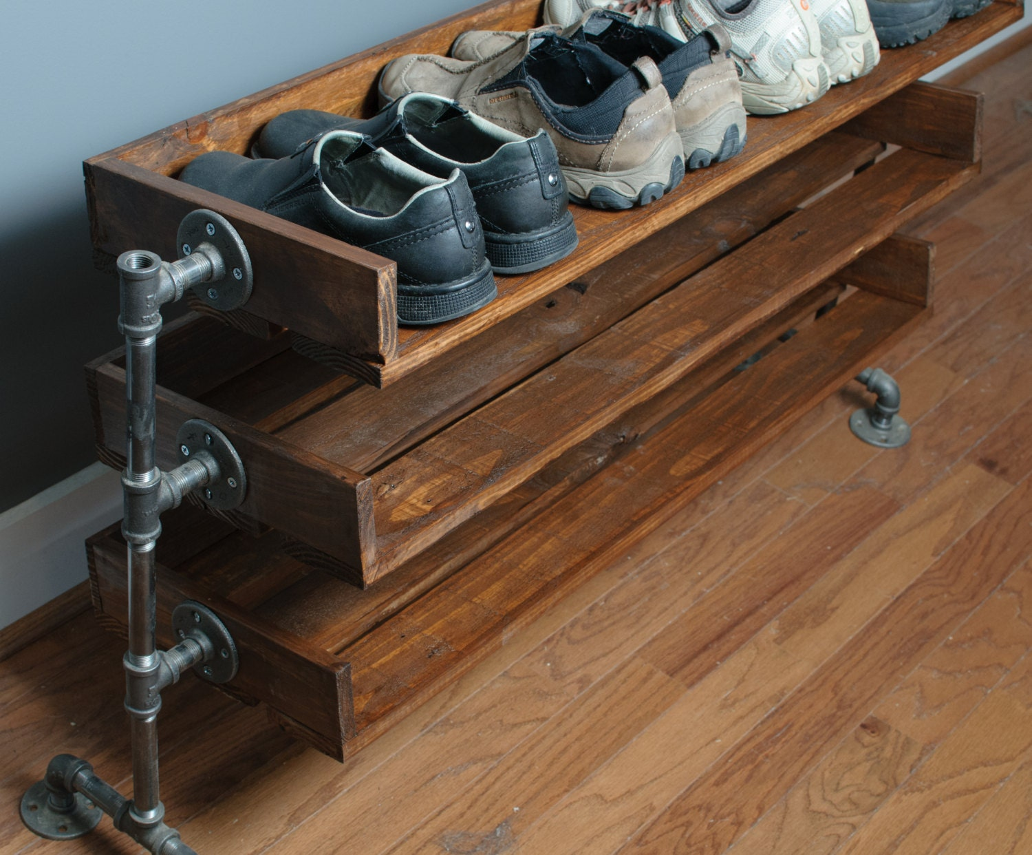 handmade reclaimed wood shoe stand rack organizer with. Black Bedroom Furniture Sets. Home Design Ideas