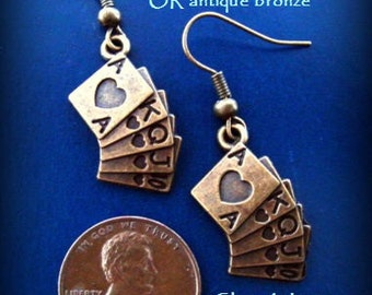 Royal Flush Charm Antique Bronze Earrings