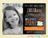 Halloween Ghost Chalkboard Birthday Invitation -Witch, Vampire, Frankenstein Girl, Boy ANY Age 1st, 2nd, 3rd... Birthday Party Photo Invite