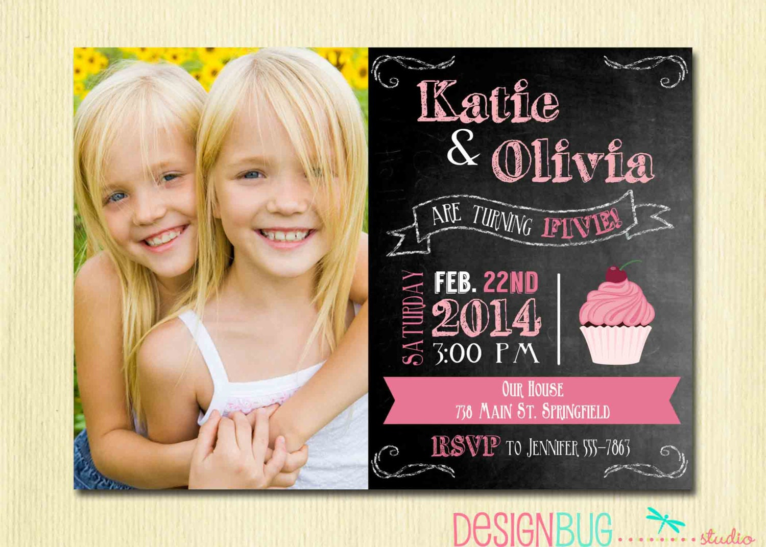 Twins Chalkboard Cupcake Invitation 1 2 3 4 year old etc – 3 Year Old Birthday Invitation
