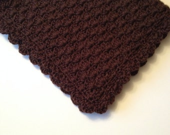 Crochet Baby Blanket, Travel/Stroller/CarSeat, Brown