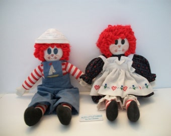 Vintage Porcelain Raggedy Ann and Raggedy Andy Doll Handmade Toy