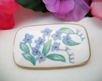 Vintage Blue Flower Ceramic Porcelain Brooch Pin MR Violets Floral Jewelry Fashion Accessories For Her