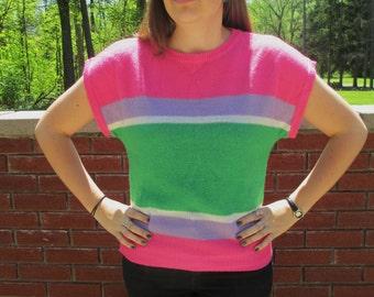 Vintage Pink, Purple and Green Horizontal Stripe Short Sleeve Knit Sweater Shirt