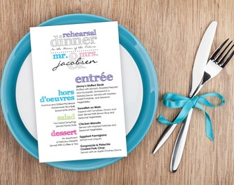 Multi-Colored Rehearsal Dinner Menu (Digital file)