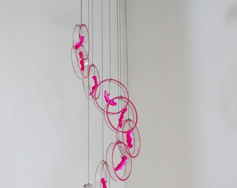 Swirl Glass wind chime, Recycled wine bottle wind chime, upcycled, glass circles, Clear glass, Bright Pink Beads