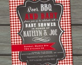 Beer BBQ and Baby Shower, Coed Baby Shower, Couples Baby Shower, Babyque, BBQ Shower, Joint Baby Shower, Red Gingham, Summer Baby Shower