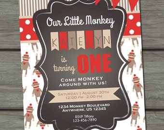Sock Monkey Birthday Invitation, Monkey Birthday Invitation, Traditional Sock Monkey, Photo Invitation, Sock Monkey Invite