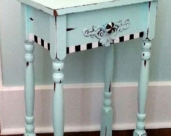 Hand painted Shabby Chic Nightstand, side table or end table. Whimsical/artistic. Trendy & Gorgeous.