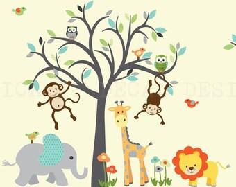 Safari Animal Wall Decal, Nursery Wall Decal, Giraffe Wall Decal, Jungle Animal wall decal, Modern Boy Design Grey Tree Wall Decal