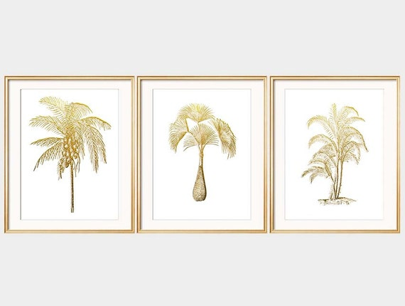 Items similar to gold white print set of three palm tree for Beach house prints
