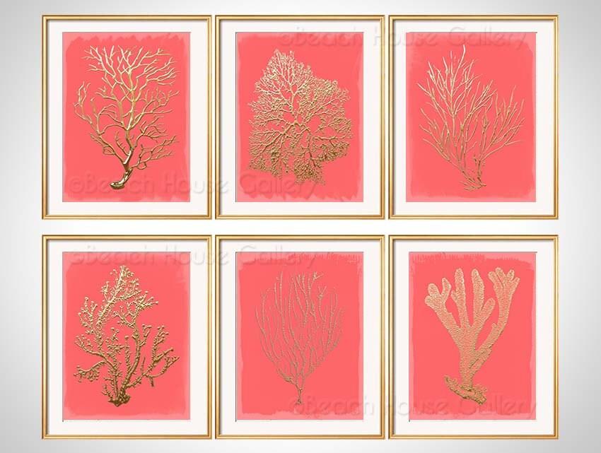 Coral Wall Art Gold Coral Print Set Of 6 Coral Art Prints