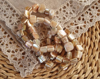 50 Pcs.Beautiful Shell Beads Dyed, Ivory, AB Colour