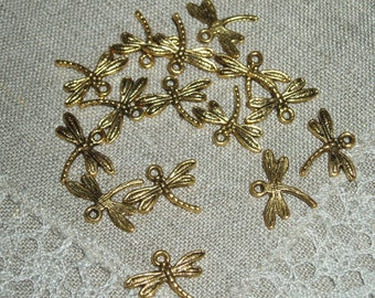 10 PCs Antique Gold  Dragonfly Charms Pendants 15 x 17 mm