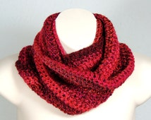 Infinity Scarf Crochet Cowl Shades of Red