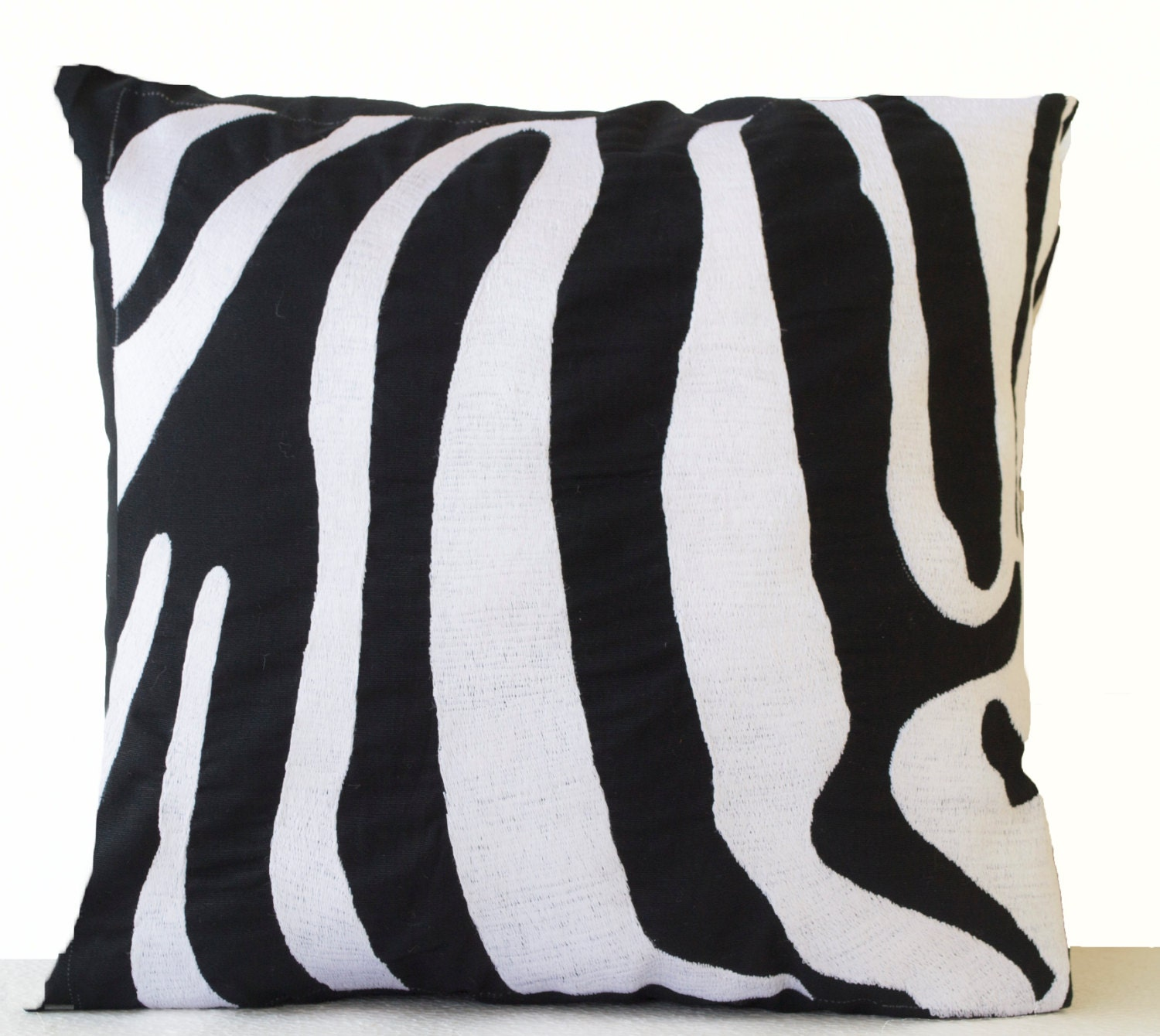 Zebra Decorative Pillows : Decorative Pillow Cushion Cover Zebra Striped Embroidered