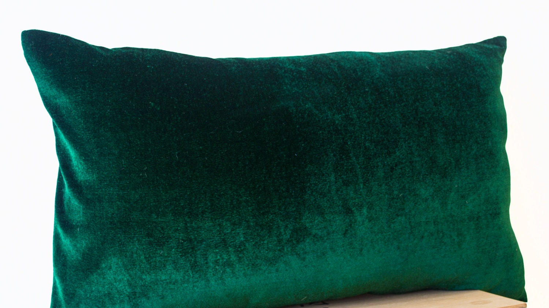 velours luxuriante vert meraude et avoine lin coussin housse. Black Bedroom Furniture Sets. Home Design Ideas
