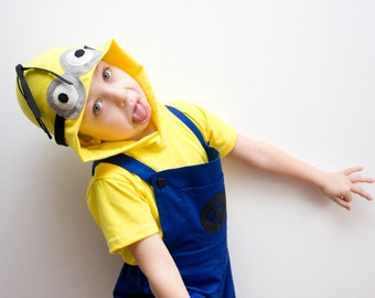 Minion Halloween Costume, Blue Overall Shorts and Yellow Hooded Tshirt, Double Eyes, Toddlers Costume