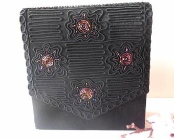 Black Evening Bag, Beaded Evening Bag,Black Beaded Purse, Black Clutch Bag, Vintage Black Purse, Beaded Handbag EB-0444