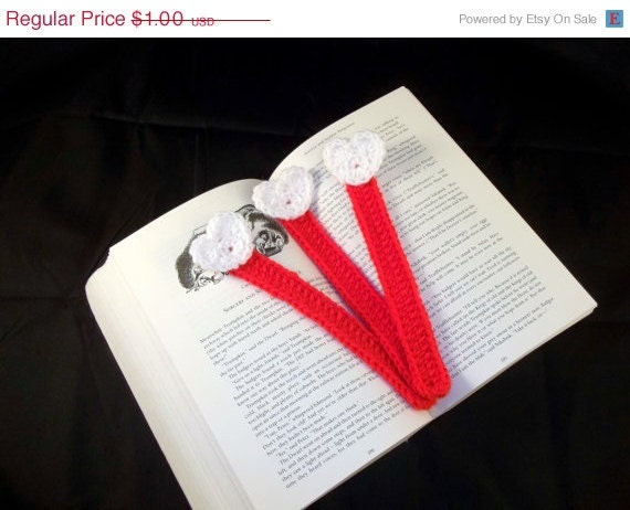 HALF OFF Crocheted Bookmarks - Red with White Hearts - Set of 3