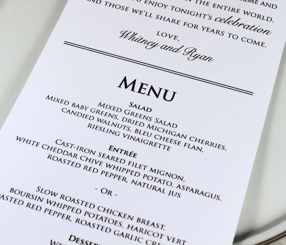 Wedding Reception Food Menu: Wedding Reception Menu And Thank You Card Combo Wedding Menu