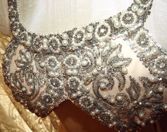 Fabulously Beaded VINTAGE Bodice Encrusted Rhinestones Pearls Sequins Beadwork Metallic
