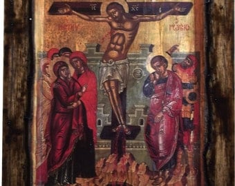 Jesus Christ - Crucifixion -  Orthodox Byzantine icon on wood handmade (22.5cm x 17cm)
