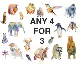 Childrens Art  -  Any 4 Prints for 3  - Large Size 11x14inches  - Watercolor  Painting - Nursery Art Print - Animals