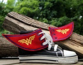 Inspired by Wonder Woman- Embroidered Shoe Wings - MTCoffinz