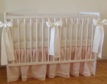 Linen Nursery  bedding -   4 side bumper - girl  crib bedding, girl nursery bedding, pink bedding