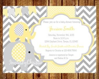 Yellow and Gray Elephant Baby Shower Invitation- Digital File- DIY Printable - Elephant Baby Shower Invitation, Chevron Invitation