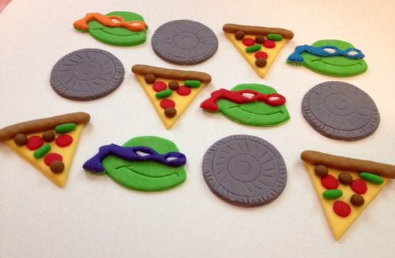 Ninja Turtle Fondant Cupcake Toppers Ninja Turtles Inspired Fondant