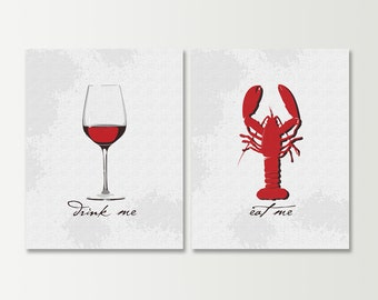 Wine Art - Kitchen Prints - Wine Prints SET of 2 - Red Wine / Burgundy Lobster Decor - Eat & Drink - Dining Room Art - Kitchen Wall Art