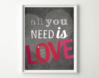 Love Quote Art Print - Inspirational Typography Poster - Pink and Red Ombre Hearts - Red Wall Art - Love Decor - Valentine's Day Gift