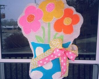 Burlap Spring flowers door hanger