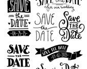 CLIP ART: Save the Date Overlays 1 // Photoshop psd // Editable Vector Files // Invitation Card Elements // Stamp // Wedding Announcement