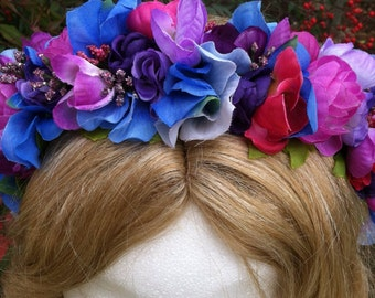 OOAK Cool colors floral bouquet wedding/fairy flower headband