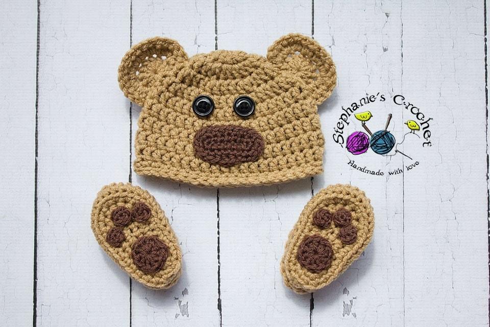 Crochet Newborn baby bear hat booties set crochet Newborn