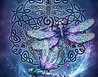 Celtic Dragonflies Triskele -  Pagan Wiccan Print - Brigid Ashwood