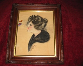 "ANTIQUE SHADOW BOX Frame With Painting 1917 Signed Leo Faulkner 11"" x 13"""