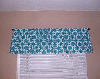 Handmade Window Valance, 56W x 15L, in Gotcha Aqua/Turqouise/White,Child's Room, Home Decor