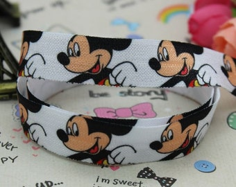 "Mickey Mouse 5/8"" FOE Fold Over Elastic By The Yard - Headband, Bracelet, Cloth Diaper Sewing Supplies"