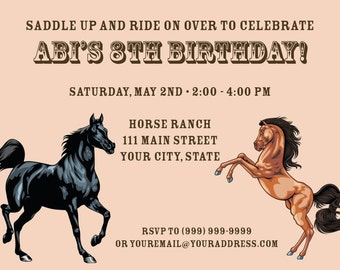 Horse Birthday Invite