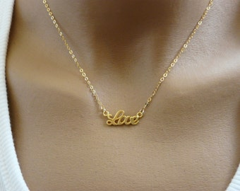 Love necklace, Gold filled necklace, Delicate necklace, Simple necklace, Romantic necklace, Fashion