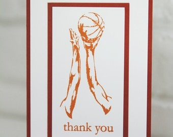 Basketball Thank You Hand Made Card, Thanks Coach Note Card, Basketball Coach Thank You, Sports Party Cards