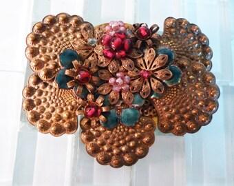Glass Bead Art Nouveau Brooch
