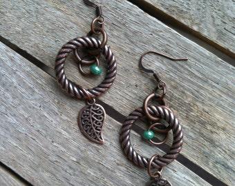 Antique Copper Dangle Loop and Leaf Earrings ER-072014-05
