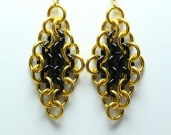 Black and Gold Anodized Aluminum Chainmaille Earrings