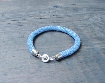 Blue bracelet Beaded crochet bracelet formal crochet rope thin bracelet for her